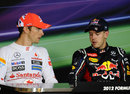 Jenson Button and Sebastian Vettel in the press conference