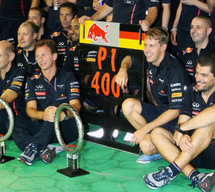 Sebastian Vettel and Red Bull celebrate victory in Singapore