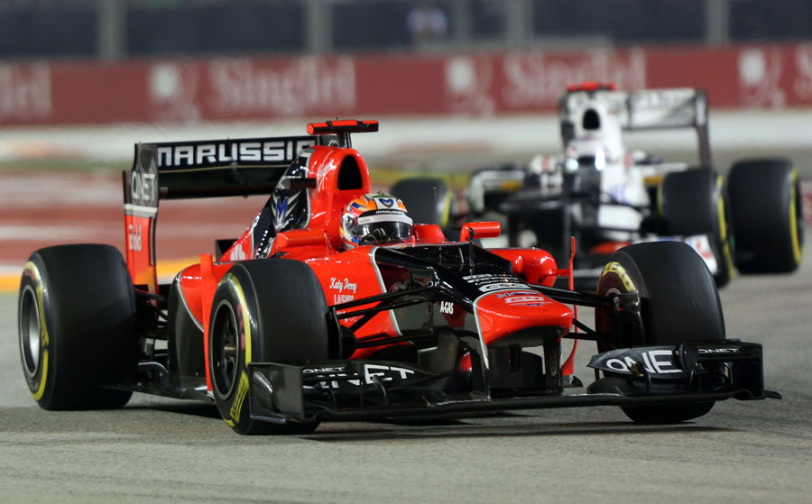 Timo Glock on his way to 12th place in the Marussia