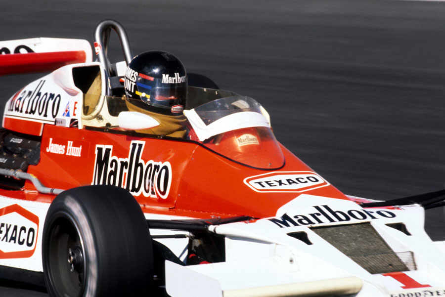 James Hunt on his way to victory in the McLaren