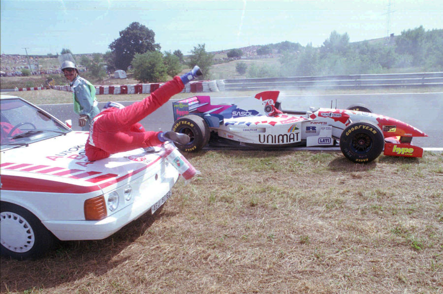 Taki Inoue is hit by a marshal car coming to help him after he retired with a blown engine