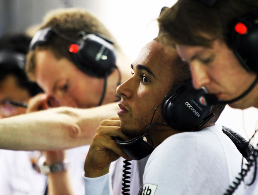 Lewis Hamilton in the McLaren garage