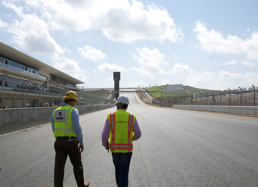 Charlie Whiting heads towards turn one during his final track inspection of the Circuit of the Americas in Austin