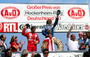 Jacques Laffite and Carlos Reutemann celebrate on the podium, with Alan Jones absent due to the presence of FISA Jean-Marie Balestre