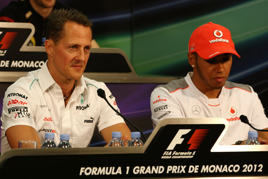 Michael Schumacher and Lewis Hamilton in the press conference
