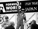 Gerhard Berger celebrates on the podium
