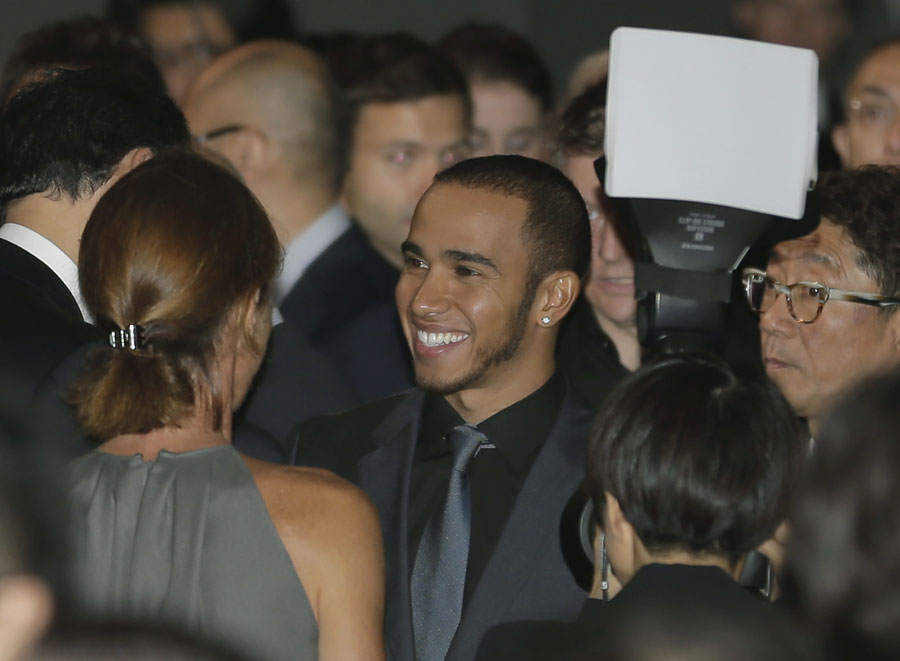 Lewis Hamilton at the centre of attention during a media function on Wednesday