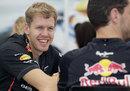 Sebastian Vettel enjoys a joke in the Red Bull Energy Centre