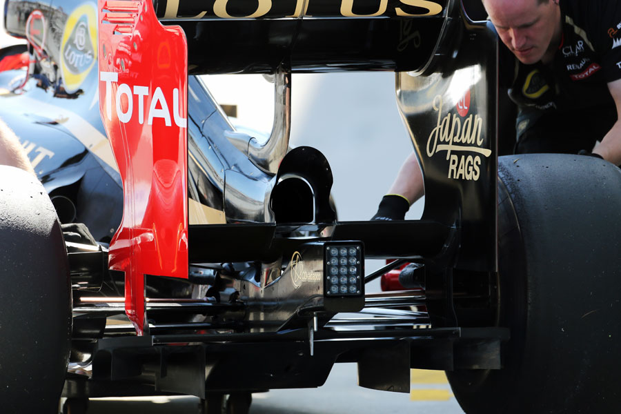 The rear wing 'device' on Kimi Raikkonen's Lotus E20