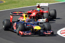 Mark Webber leads Felipe Massa on track