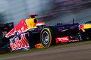 Sebastian Vettel at speed on soft tyres