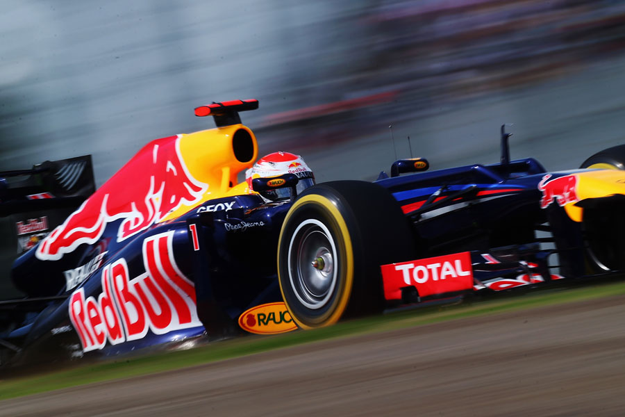 Sebastian Vettel at speed on soft tyres