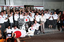 Kamui Kobayashi celebrates his maiden podium with his team