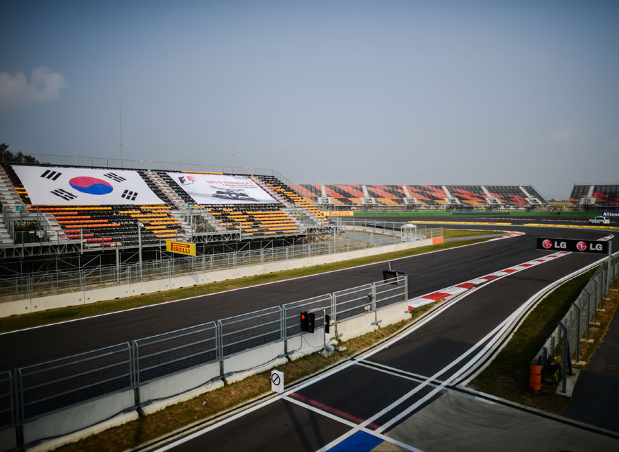 The view of the first corner at the Korean International Circuit