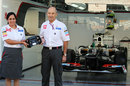 Peter Sauber ceremoniously hands the wheel to Monisha Kaltenborn