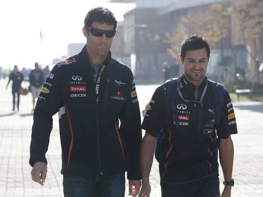 Mark Webber arrives at the circuit on Friday morning
