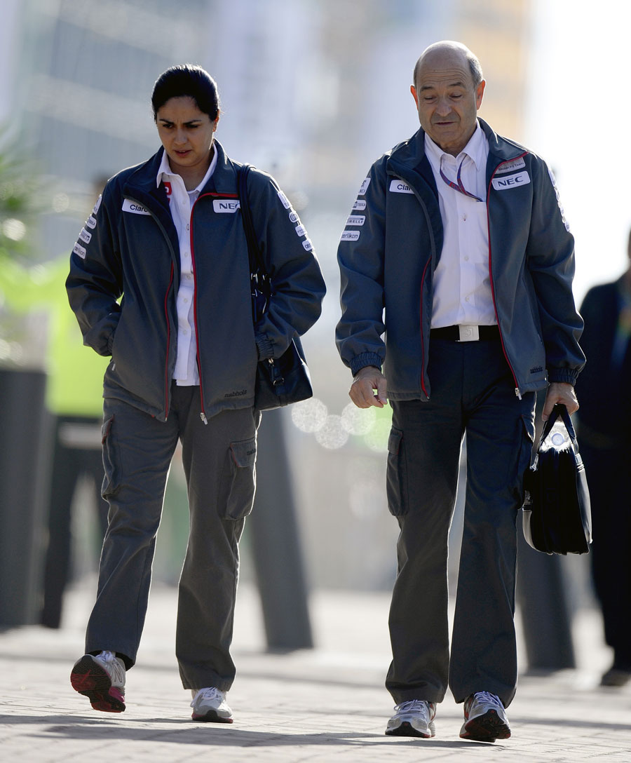 New Sauber team principal Monisha Kaltenborn arrives in the paddock with Peter Sauber