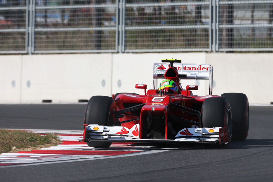 Felipe Massa takes plenty of kerb on supersoft tyres