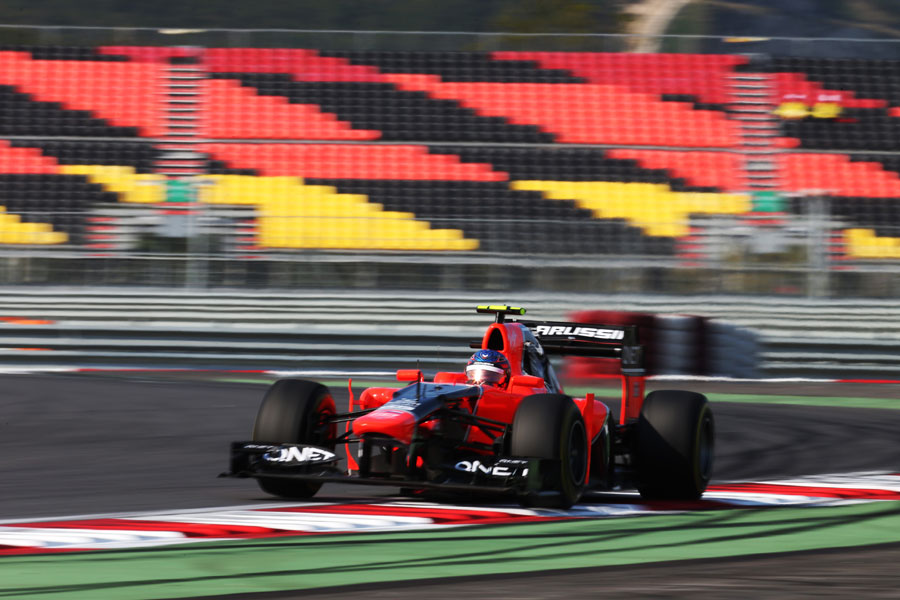 Charles Pic at speed in the Marussia