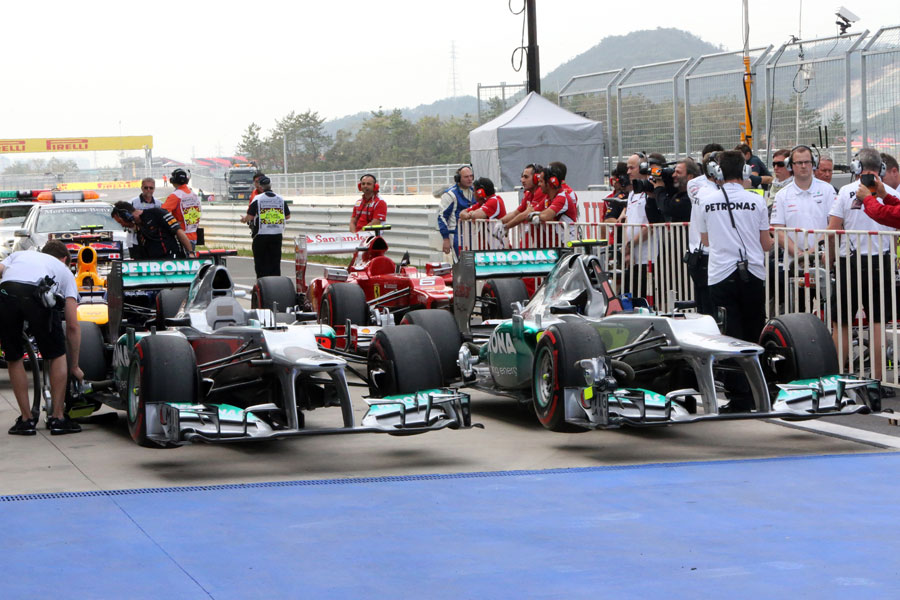 The two Mercedes cars in parc ferme