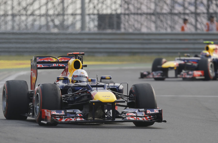 Sebastian Vettel leads team-mate Mark Webber