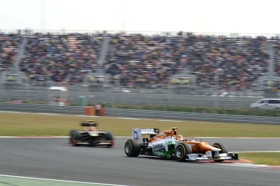 Nico Hulkenberg leads Romain Grosjean through the middle sector