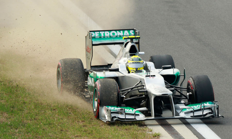 Nico Rosberg rejoins the track after running wide