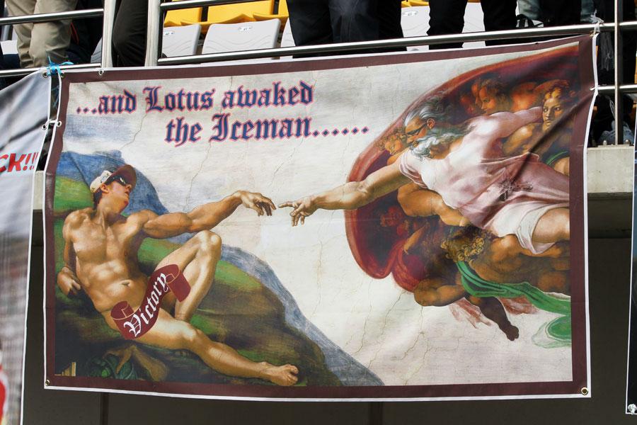 A banner made by Kimi Raikkonen fans