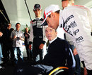 Pastor Maldonado chats to Sir Frank Williams at a Williams media and partners day