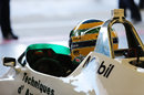Bruno Senna prepares for a demonstration run in the Williams FW08