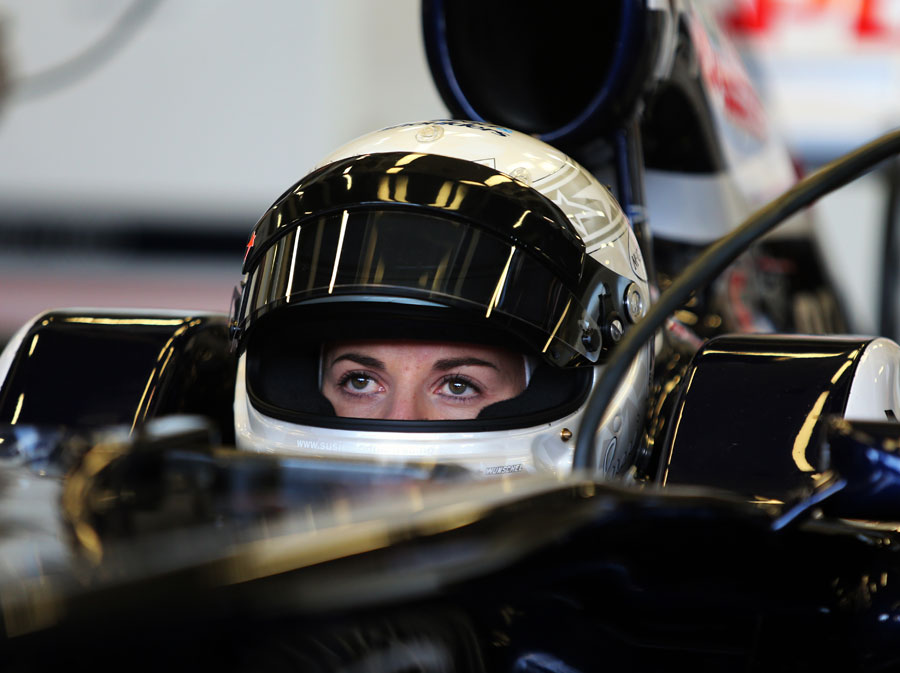 Susie Wolff in the cockpit of the Williams FW33 ahead of her test drive