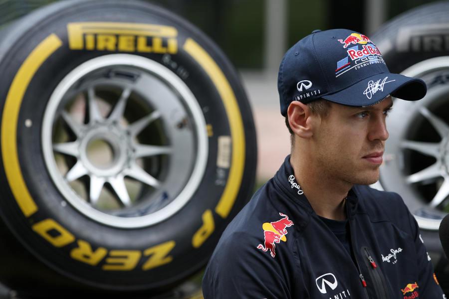Sebastian Vettel faces questions from the media