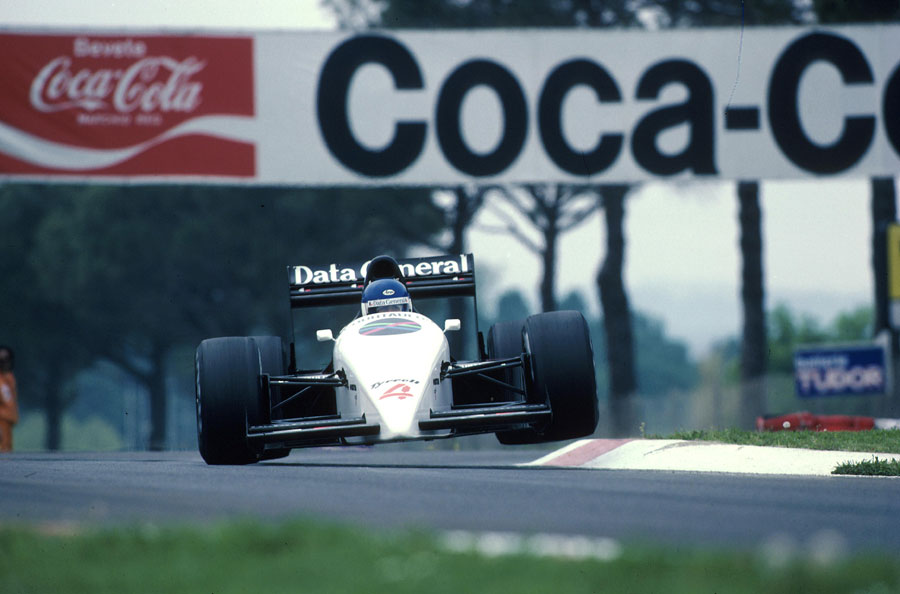 Phillipe Streiff attacks the kerbs in his Tyrrell