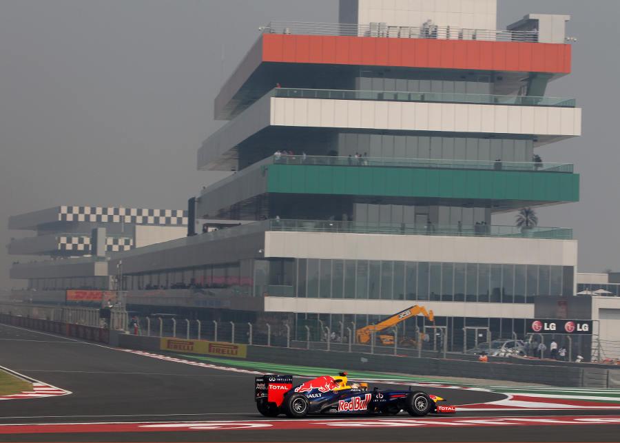 Sebastian Vettel returns to the pits on Friday
