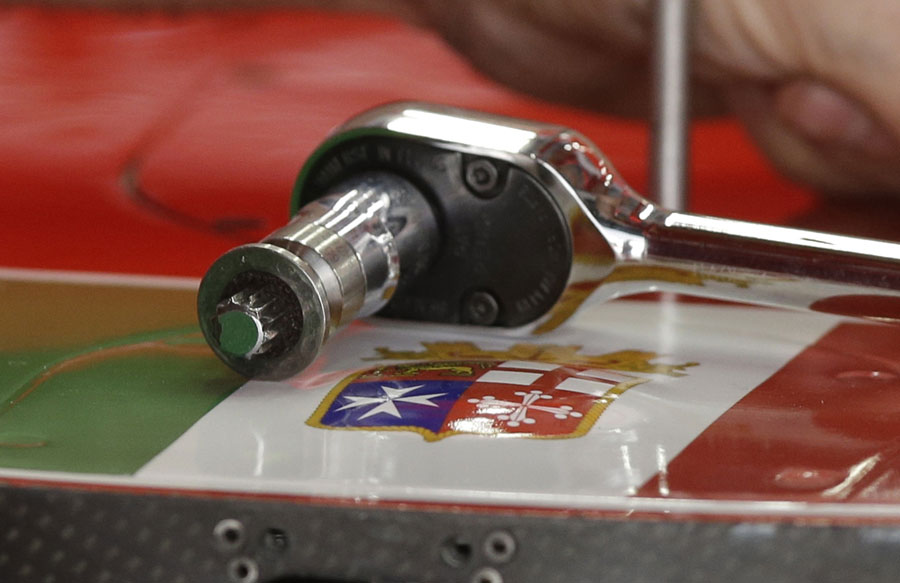The Italian navy insignia on Fernando Alonso's Ferrari