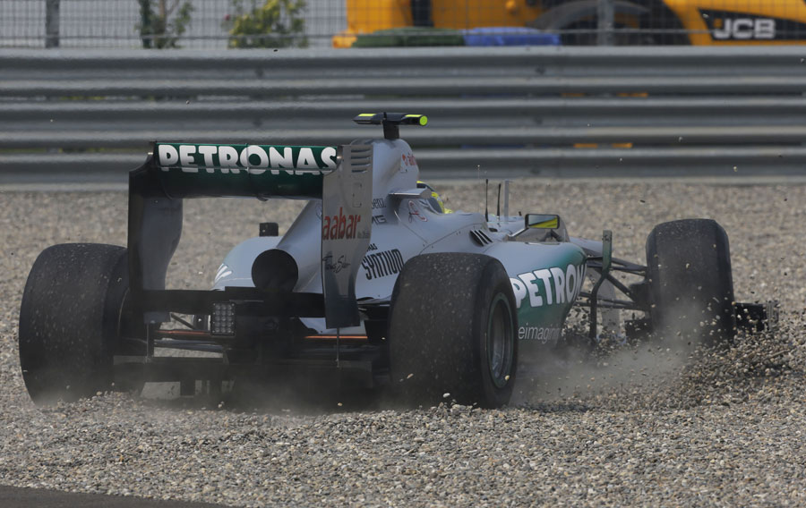 Nico Rosberg takes a trip through the gravel in his Mercedes
