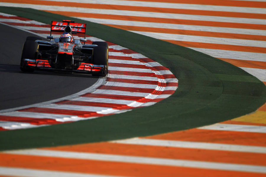Jenson Button tackles turn ten on soft tyres