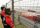 Max Chilton watches Timo Glock on track