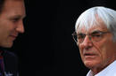 Bernie Ecclestone talks to Christian Horner in the paddock on Saturday