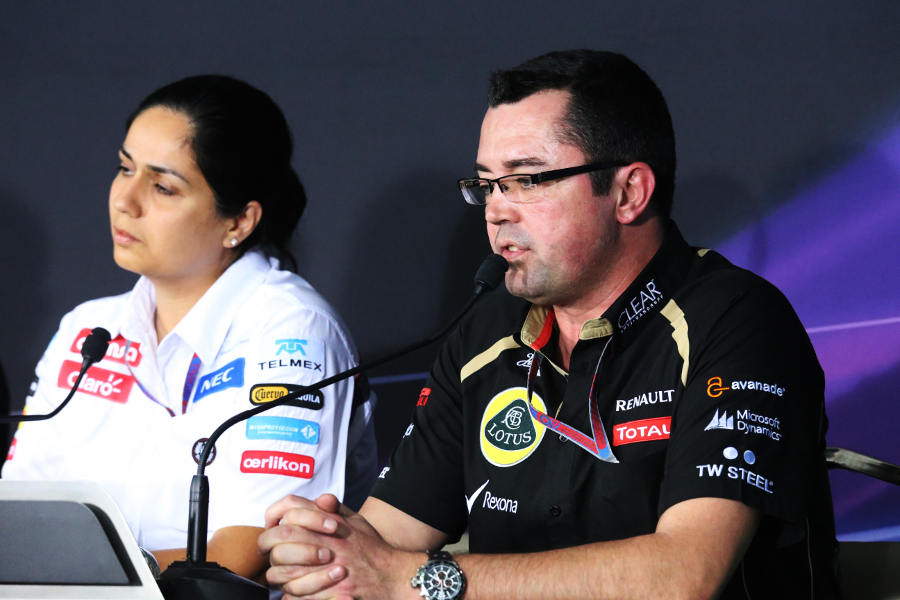 Eric Boullier and Monisha Kaltenborn in the team principals press conference