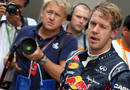 Sebastian Vettel in parc ferme after taking pole position in India