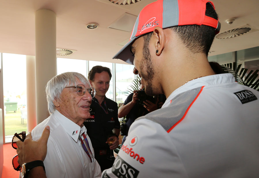 Lewis Hamilton congratulates Bernie Ecclestone on his 82nd birthday