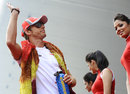 Jenson Button on his way to the drivers' parade