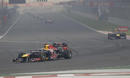 Sebastian Vettel leads Mark Webber and the rest of the field