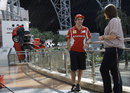 Fernando Alonso charms the media at the Ferrari World entertainment park in Abu Dhabi