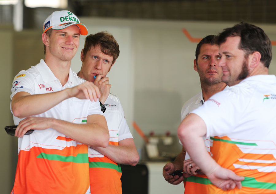 Nico Hulkenberg in the Force India garage