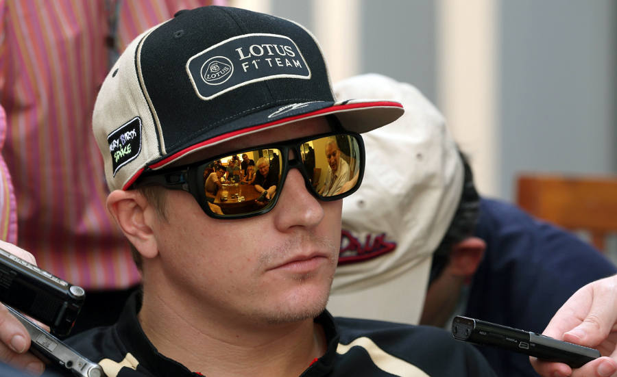 Kimi Raikkonen speaks to the assembled media