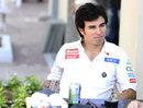 Sergio Perez sits outside Sauber's hospitality