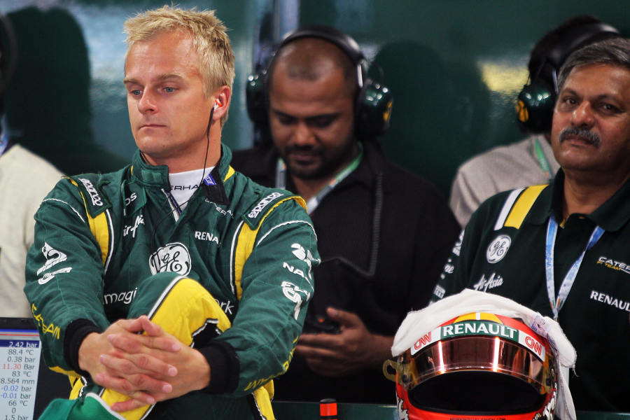 Heikki Kovalainen in the Caterham garage ahead of qualifying