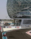 Fernando Alonso uses the full width of the circuit